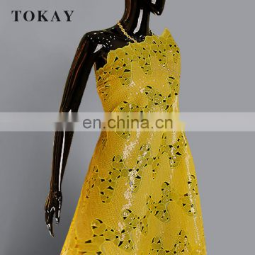 Best price yellow double african organza lace fabric