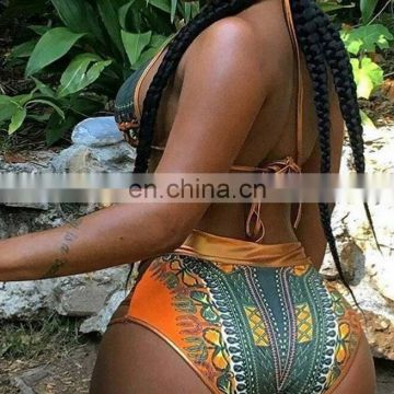 2017 European and American hot stamping swimsuit tall waist printed sexy bikini