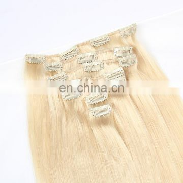 Color 613 blonde human hair clip in hair extensions