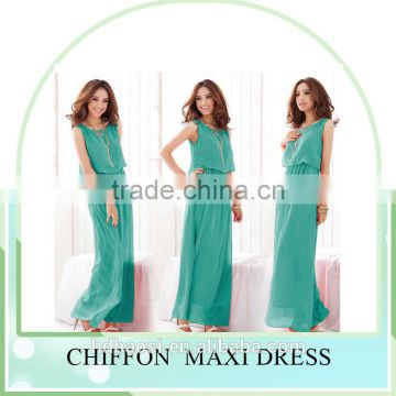 Hot sale summer Women bohemian Beach dress, women Chiffon silk maxi dress ,sleeveless Plus size dress