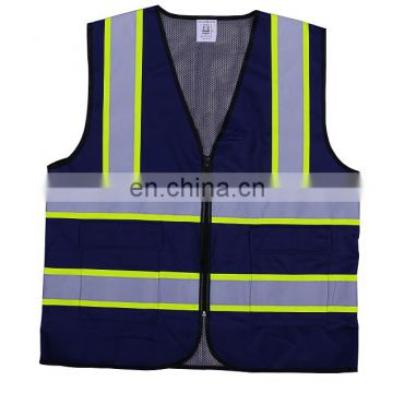 high visibility deep blue reflective working vest/safety working vest for men