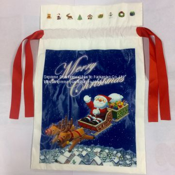 Christmas Draw String Poly Packaging Bag