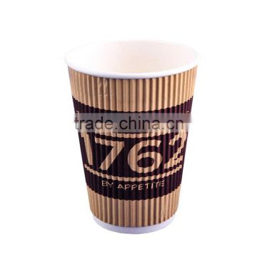 Disposable custom printed different size double PE wall kraft paper cups