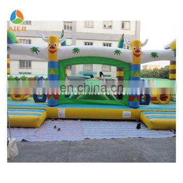 Outdoor Inflatables, Bouncer With Many Obstacles And Parrots