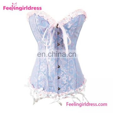Light Blue Overbust Pattern Corset Free Shipping