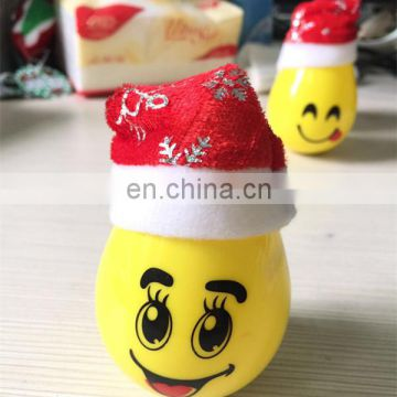 Newest 2017 Christmas Gift led Tumbler Fidget Toys Flip Egg Fidget Spinner emoji with christmas hat