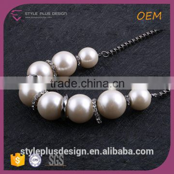 N74388H01 Long Hematite Chain Pearl Initial Necklace Women From Pearl Updated Collection