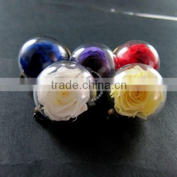30mm glass dome pendant with red,purple,yellow,white,blue real preserved rose blossom flower lovers charm 1810395