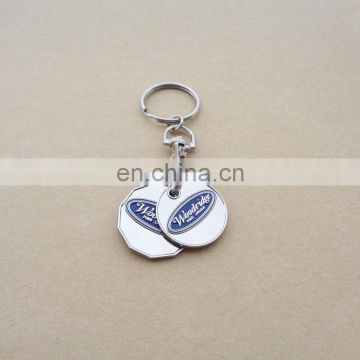 OEM factory new design two coins,double side logo and two-side color trolley coin frully with personal