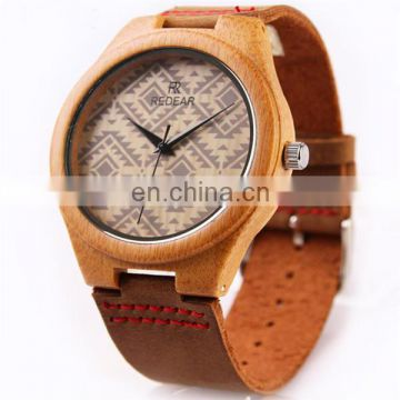 Wholesale China mens watch genuine leather watch wood watch