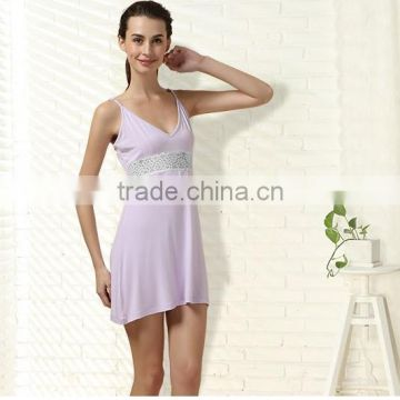 Summer Night skirt Mini Sleeveless Nightgown For women Knitted Modal sleepshirts