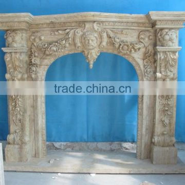 Beige Travertine Marble Fireplace Mantel Surrounding