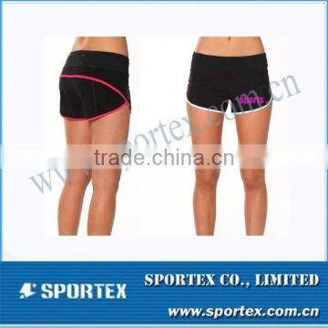 Reflective Tape Embroided Printing 100% Polyester Ladies Shorts for Running MZ0420