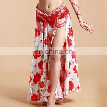 Satin floral nice arabic Belly dance circle long skirt costume with slits Q-6037#