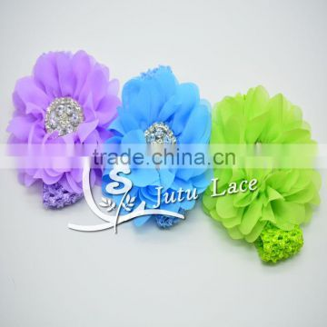 5inch artificial chiffon ruffle flower rhinestone pearl center applique / crystal bead big hair flower