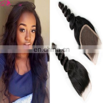 Fast shipping raw brazilian hair loose wave brazilian hair closure