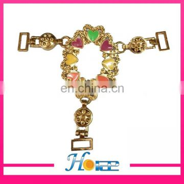 hdt341shoe decoration T shape deep rhinestone shoe chain for sandals