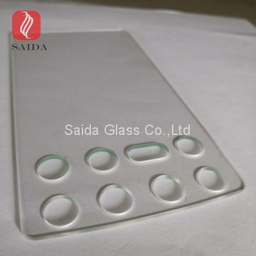 custom clear tempered glass cut out holes and slots drilling