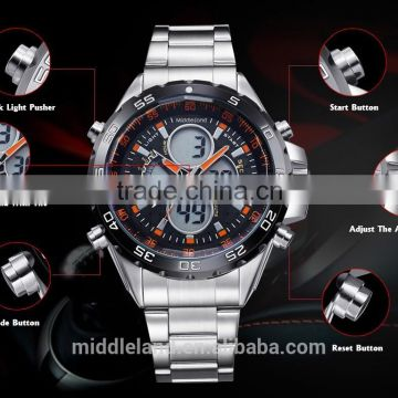 2015 MIDDLELAND New Japan Movement Men's Wristwatch, Stainless Steel/Back Alloy Case and Genuine Leather Band