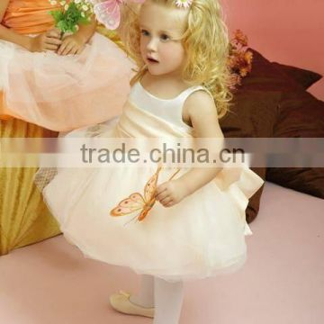 Sleeveless A line Knee Length Custom Made Vestidos Girl Ball Gown for Wedding FG038 baby girls party wear dress