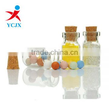 10ML CLEAR ROUND GLASS BOTTLE / GLASS JAR WITH CORK