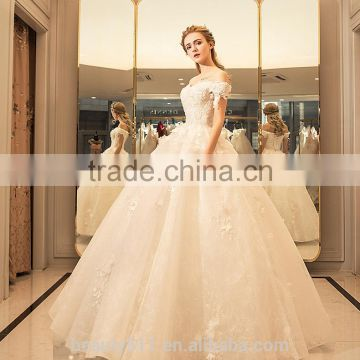 Modern A-line Off-shoulder Cap Sleeve Satin Ball gown with Long Tail wedding dresses TS38
