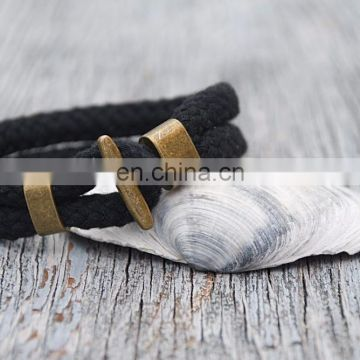 Black rope bracelet Nautical cotton bracelet Men and Women Unisex bracelet Casual style bracelet