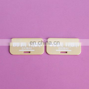 Customized logo metal design rectangle tags for jewelry/clothing/handbag
