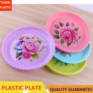 TX006 PLASTIC COLORFUL CAKE PLATE FOOD TRAY SNACK PLATE