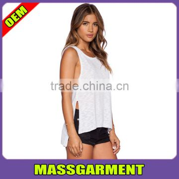 d8bfb43a72 GYM White Tank Top for Women Sports Yoga Tank Top With Side Split of tank  tops from China Suppliers - 144726266