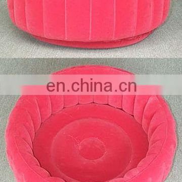 Inflatable flocked pet dog bed