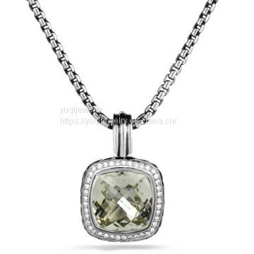 925 Silver 14mm Albion Pendant with Prasiolite and CZ(P-022)