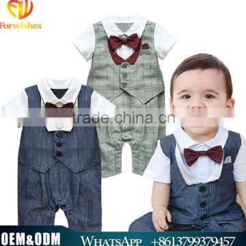New Arrival Kids Clothes Cute baby boy organic cotton jumpsuits toddler boy rompers breathable handsome boy clothing rompers
