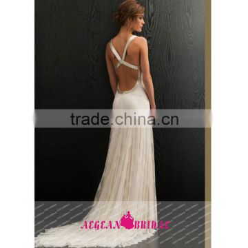 QC3 hot sale sexy v neck A-line bohemian lace wedding dress backless lace sleeveless floor length vestido boda