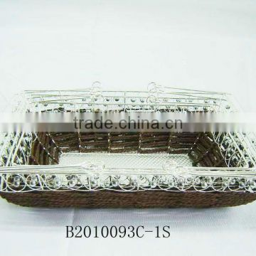 Silver metal wire and paper rope rectangle fruit storage basketry