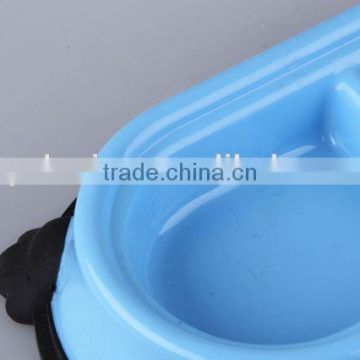 New design Plastic slip-resistant oval pet bowl with rubber bottom/dog bowl
