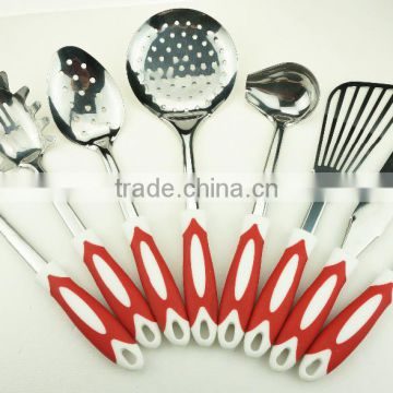 32012 Kitchen Maestro High Quality Stainless Steel with Rubber Coated Grip Utensil Set of 8