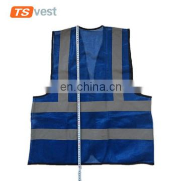 Hot selling warehouse worker royalblue reflective vest with 3 pockets