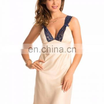 Gold Navy Lace-Trim Short Chemise