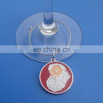 factory custom santa claus embossed round metal charm pendants