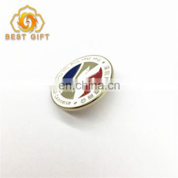 Round Shape Customized Plated Metal Logo Lapel Pin Badge