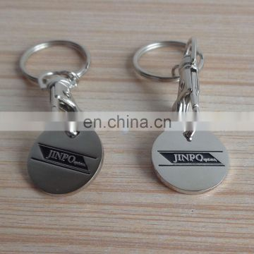 double sides custom design silver Canada shopping cart trolley coin key chain