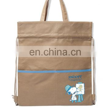 Custom plastic pp non-woven disposable drawstring backpack bag with pocket