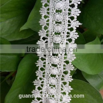 Best Price African French George White Water Soluble Embroidery Lace Trimming, 100% Polyester Fashion Trim Lace For Dresses