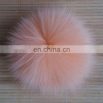 Cute big fox fur pompon hand made wholesale china factory supply