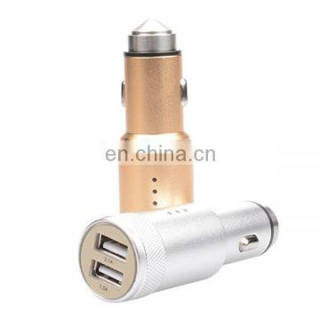 SEZU Aluminum Alloy Dual USB Emergency Hammer Car Charger 3.1A with Safty Harmmer and Anion Air Cleaner Function