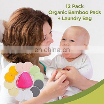Elinfant Organic Bamboo Nursing Pads washable bresat pads (12 Pack) + Laundry Bag