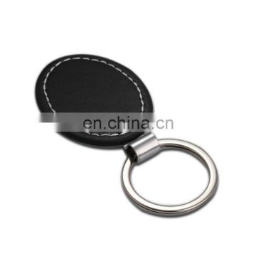 Oval Blank Tag Keychain Metal black leather Keyring for Making Logo