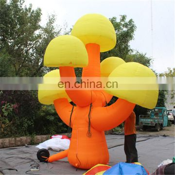 cute design orange&yellow color inflatable mushroom tree model replica for decoration