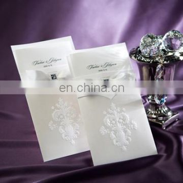 AB9014 White Color With Envelope Pack Hot Sale Wedding Invitation Card